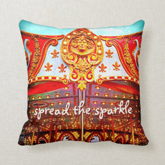 """""""Spread Sparkle"""" Quote Gold Carousel Face Photo Throw Pillow"""