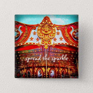 """Spread the sparkle"" carousel gold face photo 2 Inch Square Button"