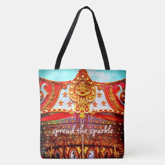 """Spread the sparkle"" quote fun carousel face photo Tote Bag"