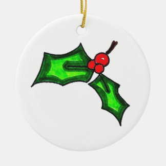 Sprig of Holly Ceramic Ornament