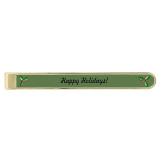 Sprig of Holly Classic Christmas Tie Bar Gold Finish Tie Bar