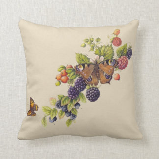 Sprigs of Fruits and Butterflies Pastel Cream Throw Pillow
