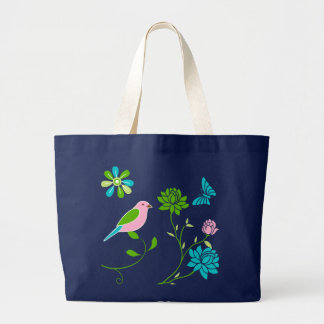 Sprind Garden Illustration On Blue Jumbo Tote