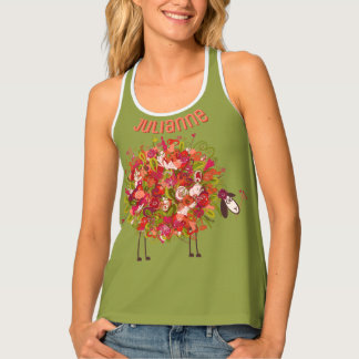 Spring And Summer Floral Sheep Personalized Tank Top