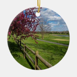 Spring At Rivercut Round Ceramic Ornament