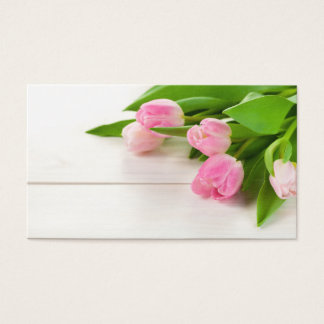 Spring Background with Tulip Flowers Business Card
