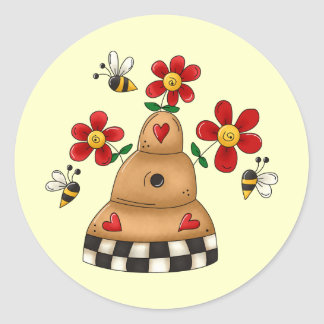 Spring Beehive Classic Round Sticker
