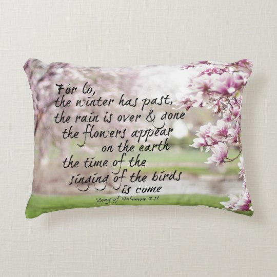 Spring Bible Verse with Magnolia Trees Decorative Pillow