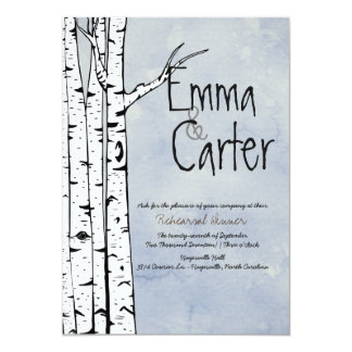 Spring Birch Tree Rehearsal Dinner Invitation