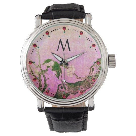 SPRING BIRD,FLOWER TREE Black Pink Monogram Watch
