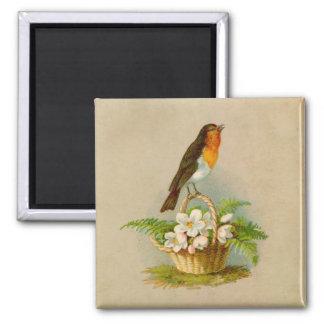 Spring Bird On Basket Square Magnet