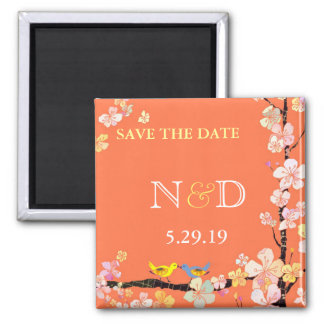Spring Birds Backyard Wedding Save the Date Magnet