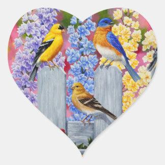 Spring Birds Garden Party Heart Sticker