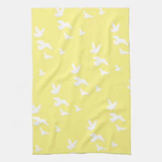 Spring Birds in Flight | Custom Background Color Kitchen Towel