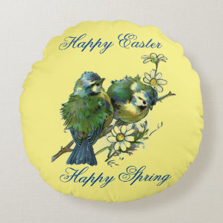 Spring Birds Round Pillow