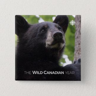 Spring - Black Bear 2 Inch Square Button