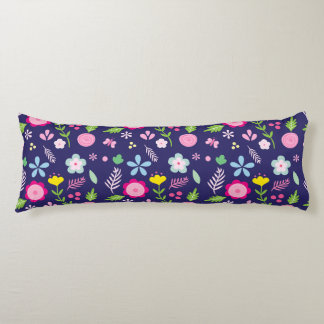 Spring Blooms in Navy Blue Flower Pattern Body Pillow