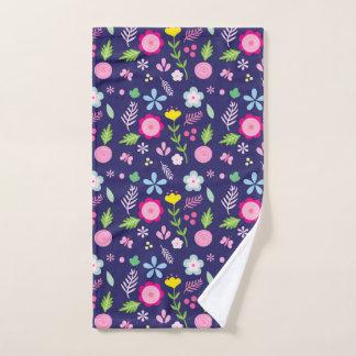 Spring Blooms in Navy Blue Flower Pattern Hand Towel