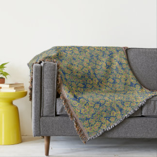 Spring Blossom, blue & yellow, floral pattern Throw Blanket