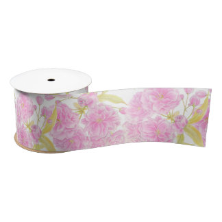 Spring blossom watercolor pink, green white ribbon satin ribbon