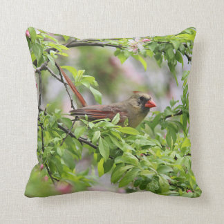 Spring blossoms and Northern Cardinal Throw Pillow