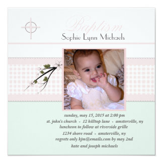 Spring Blossoms Collection Photo Baptism Invitatio Card