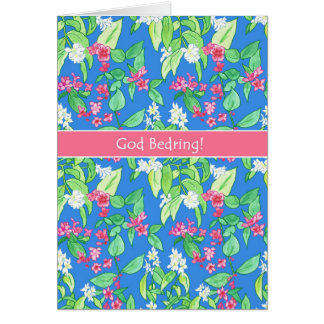 Spring Blossoms Danish Language Get Well Soon Card