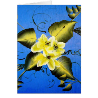 SPRING BLOSSOMS ON BLUE BACKGROUND CARD