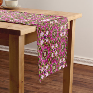 Spring blossoms, pink, Flower-Mandala, Nature Short Table Runner