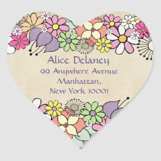 Spring Blossoms Return Address Heart Stickers