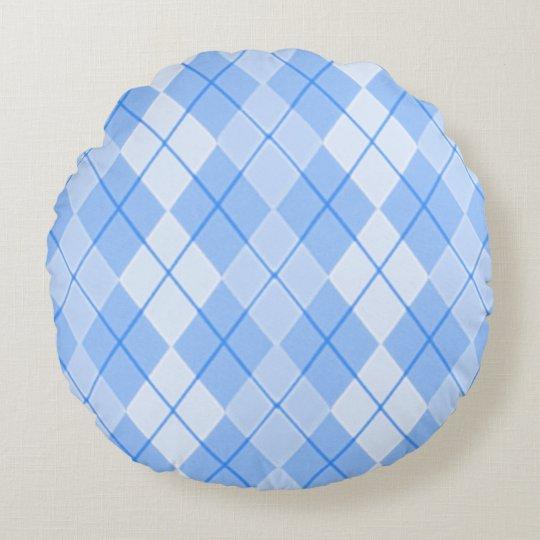 Spring-Blue-Argyle(c)Round Round Pillow