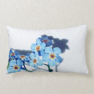 Spring blue flowers lumbar pillow