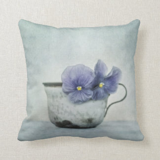 spring blues with a hint of yellow (Pansy Pillow) Throw Pillow