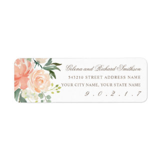 Spring Blush and Peach Watercolor Florals Address