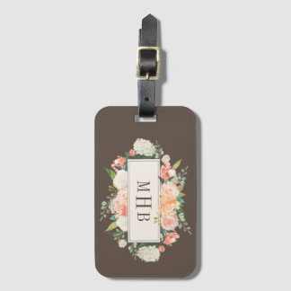 Spring Blush and Peach Watercolor Florals Monogram Luggage Tag