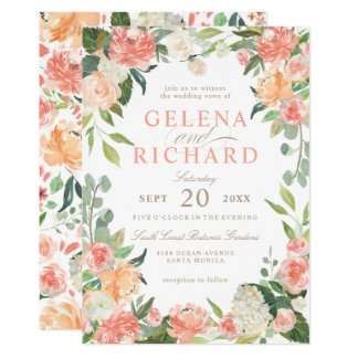 Spring Blush and Peach Watercolor Florals Wedding Card