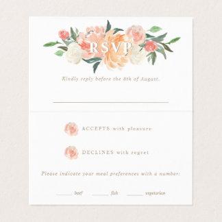 Spring Blush Peach Sage Watercolor Floral RSVP Business Card