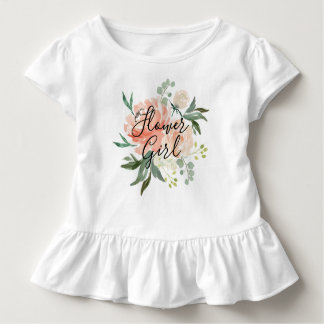 Spring Blush Peach Watercolor Bouquet Flower Girl Toddler T-shirt