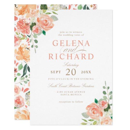 Spring Blush Peach Watercolor Floral Wedding Card