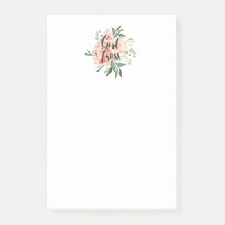 Spring Blush Watercolor Floral Girl Boss Post-it Notes