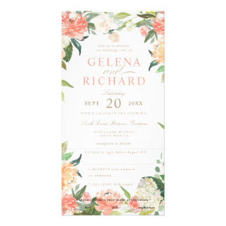 Spring Blush Watercolor Floral Wedding All in One Card