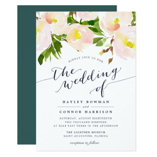 Spring Blush Watercolor Floral Wedding Invitation
