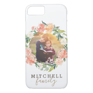 Spring Blush Watercolor Floral Wreath Family Photo Case-Mate iPhone Case