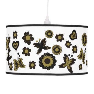 Spring Boho Bohemian Floral Gold Butterfly Ornate Pendant Lamp