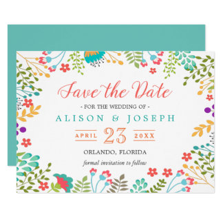 Spring Botanical Floral Turquoise | Save the Date Card