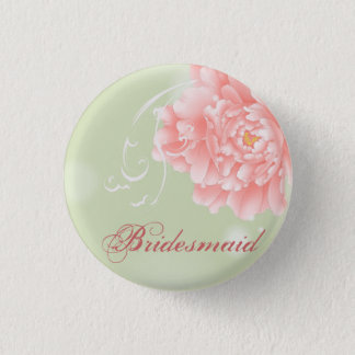 Spring Botanical mint pink peony bridesmaid 1 Inch Round Button