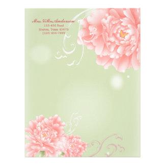 Spring Botanical mint pink peony wedding Letterhead Template