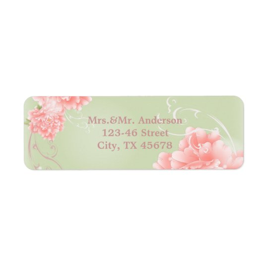 Spring Botanical mint pink peony wedding Return Address Label