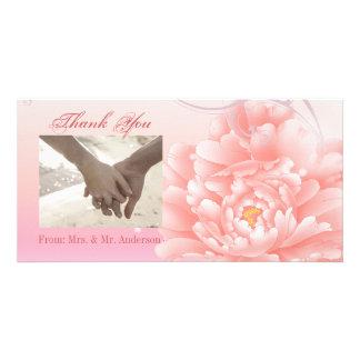 Spring Botanical  pink peony wedding Photo Card Template