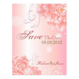 Spring Botanical  pink peony wedding save the date Postcard